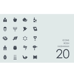 Set of Rosh Hashanah icons vector