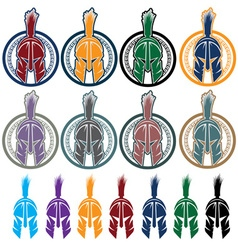 set of shields with spartan warrior vector image