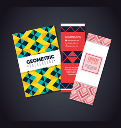 Set postcards with figures geometrics and colors vector