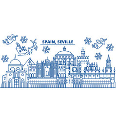Spain seville winter city skyline merry vector