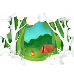 summer camping in forest in vector image