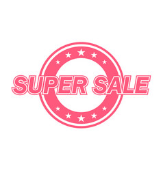 super sale label red color isolated on white vector image