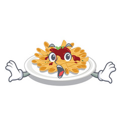 Surprised pasta in a mascot shape vector