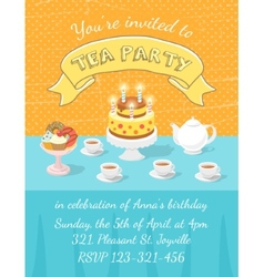 Tea party invitation template vector