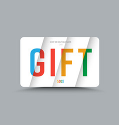 Template of a gift card of white color with vector