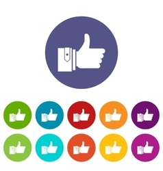 Thumbs up set icons vector image
