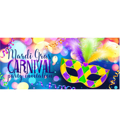 traditonal colors carnival mask on shining bokeh vector image