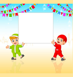 two children are holding blank banner vector image