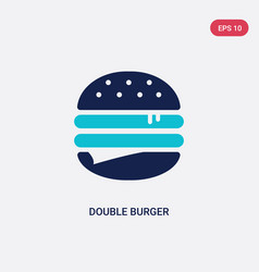 two color double burger icon from food concept vector image