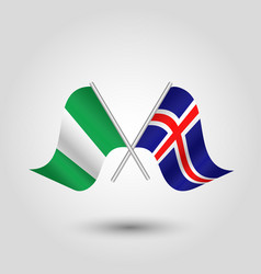two crossed nigerian and icelandic flags vector image