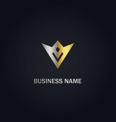v initial company gold logo vector image