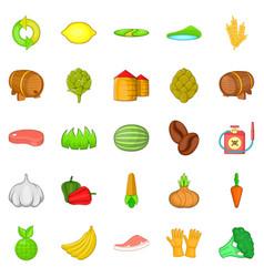 vegan icons set cartoon style vector image