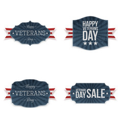 Veterans day patriotic badges set vector