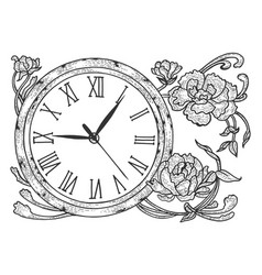 vintage clock with flowers sketch engraving vector image