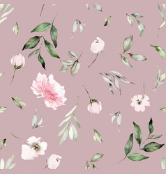 Watercolor flowers seamless pattern vector