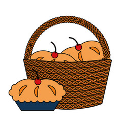 wicker basket and blanket vector image