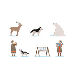 wild north arctic people and animals vector image