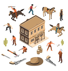 wild west cowboys isometric set vector image