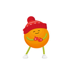 Winter fruit orange in hat mittens vector