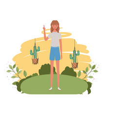 woman with macrame hangers and background vector image