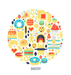 bakery pastry flat infographics icons in circle - vector image vector image