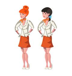 cute cartoon stewardess in uniform vector image