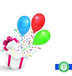 Gift with Confetti and Balloons Background vector image