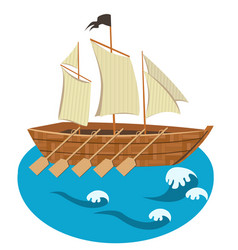 Sailing ship with oars isolated vector