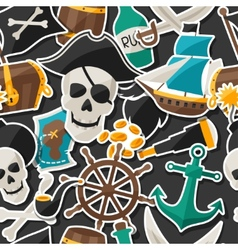 Seamless pattern on pirate theme with stickers and vector image vector image