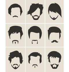 Set of hairmustachebeard silhouettes vector