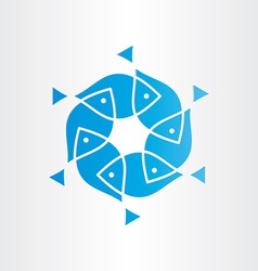 blue fish in circle design element vector image vector image