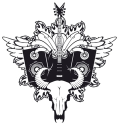 electric guitar and cow skull vector image