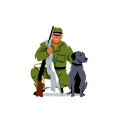 Hunting hunter with prey cartoon vector