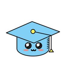 kawaii cute tender cap graduation vector image