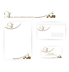 real estate corporate identity templates vector image vector image