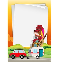 Roadtrip with car full of bags vector