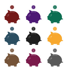 donation piggybank icon in black style isolated on vector image vector image