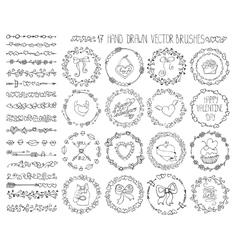 Love heart doodle brushesvalentinewedding wreath vector
