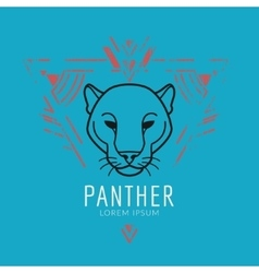 Panther head logo in frame vector image
