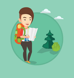 traveler with backpack looking at map vector image