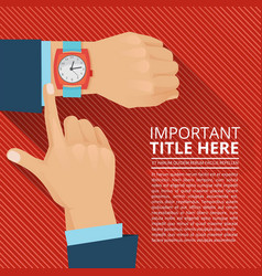businessman looking on the hand watch vector image
