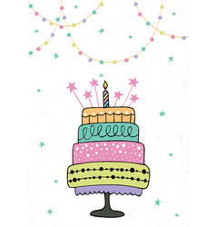 cute happy birthday card with cake and candles vector image vector image