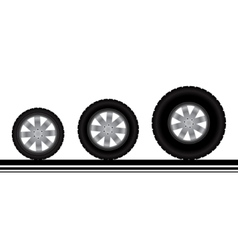 Different tires isolated on white vector image