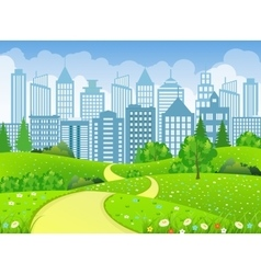 Green City Landscape with road vector image vector image