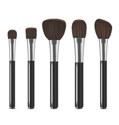 realistic detailed cosmetic brushes set vector image vector image