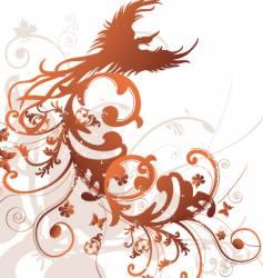 tribal floral bird design vector image vector image