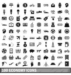 100 economy icons set simple style vector