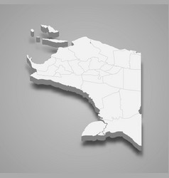3d isometric map papua is a province vector