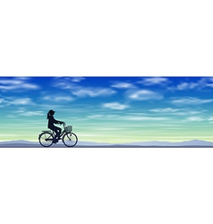 A Girl on a Bicycle vector image