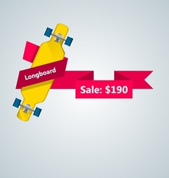 Ad layout for longboard with price vector